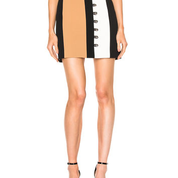David Koma Loops & Metal Balls Front Detailing Mini Skirt in Black & Beige & White | FWRD