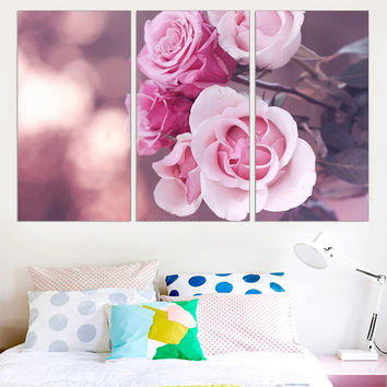 Unframed Canvas Painting Rose Flower Wall Painting Modular Oil Picture A4 Art Print and Poster Unique Gift Home Decoration 3pcs