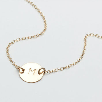 14k gold filled circle necklace - 14k gold filled hand stamped round initial  - Personalized Jewelry