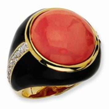 Gold-plated Sterling Silver Black Enamel Simulated Red Coral & CZ Ring