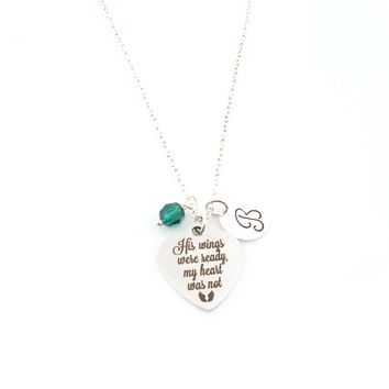 His Wings Were Ready, My Heart Was Not Charm Necklace - Swarovski Birthstone - Initial Personalized - Sterling Silver Necklace - Memorial