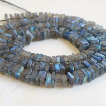 Labradorite Gemstone Square Cut Faceted Rondelle Heishi Cube 4.5mm 100 beads 1/2 strand