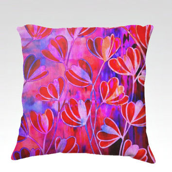 EFFLORESCENCE Bold Fuchsia Pink Red Blue Floral Fine Art Velveteen Throw Pillow Cover 18x18 Flowers Pattern Modern Dorm Home Decor Painting