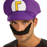Waluigi Hat & Mustache Super Mario Brothers Dress Up Halloween Costume Accessory