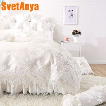 Svetanya Lace Princess Bedlinen Coverlet Pillowcases Duvet Cover Set Single Queen king size Bedding Sets