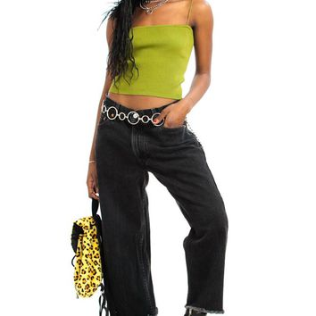 Vintage 90's Raw Crop Black Mom Jeans - M/L