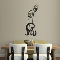 Wall Vinyl Sticker Decals Decor Art Kitchen Design Mural Fork Knife Spoon Wine Poster (Z1994)