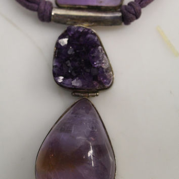 Vintage 925 Sterling Silver Triple Amethyst Gemstone Pendant Cord Necklace - Amythest Druzy & Ametrine Stone Pendant Statement Necklace