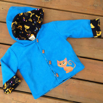 Children's Jacket Hoodie ( Handmade, Flannel Lined, Fleece, Cat Children's Hoodie with kitten buttons ) -  Children's Hoodie Size 3