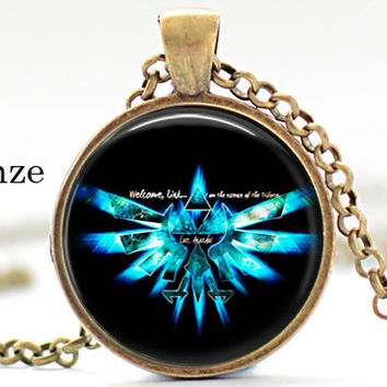 Legend of zelda royal crest blue Pendant Necklace Geekery video game pc game pendant gift for him for her for men