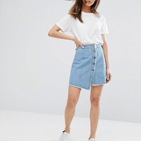 Noisy May Button Through Denim Skirt with Raw Hem at asos.com