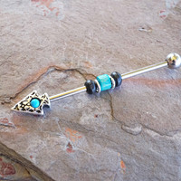 Tribal Turquoise Arrow Industrial Barbell Scaffold Piercing