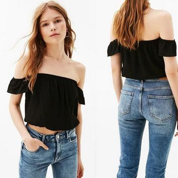 Fashion Solid Color Frills Short Sleeve Off Shoulder T-shirt Crop Tops
