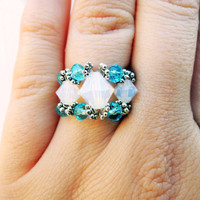 Stunning Opal and Baby Blue Swarovski Crystal Bicone Beaded Royalty Ring with Elastic Seed Beaded Band