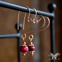 Petite Copper Heart Earrings  w/ Red Agates