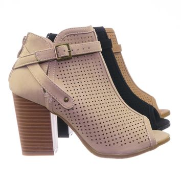 Glenda99 Biker's Stack Block Heel Peep Toe Perforated Cutout Ankle Booties