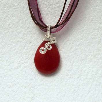 Red jade pendant, Christmas pendant, Xmas gift for her, red silver pendant, wire wrapped pendant