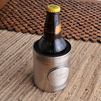 Personalize a Brushed Koozie w/Pewter Medallion