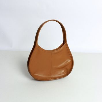 Camel Curved Top Handle Purse