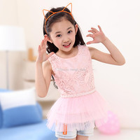 New Girls Children Summer Sleeveless Embroidered Lace Princess Dress 5 pcs/lot 3 Colors Old Girls Kids Vest Lace TUTU Dress With Pearl Sash