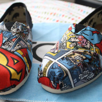 Superman Comic Strip Toms by ElizabethRoseShoes on Etsy