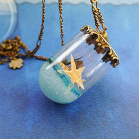 Blue Sea Glass Pendant Necklace