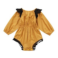Newborn Infant Baby Girl Romper Floral Lace Tassel Sunsuit Romper Autumn Spring Clothes Outfits