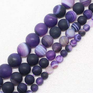 "Natural Stone Purple Frosted Stripe Agate Round Loose Beads For Jewelry Making 15.5"" Pick Size 6/8/10/12mm"
