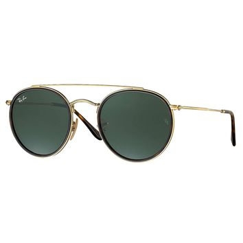 Ray-Ban Men's Round Double Bridge Metal Sunglasses, Gold