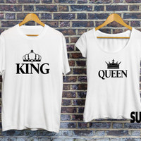 King queen shirts, queen king shirts, matching shirts for couples, matching couples shirts, st valentine gift for him/her, Hight quality tee