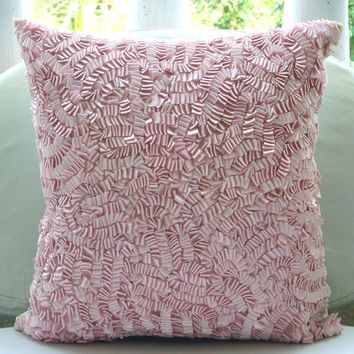 Pink Paradise - Throw Pillow Covers - 18x18 Inches Silk Pillow Cover with Pink Satin Ribbon Embroidery