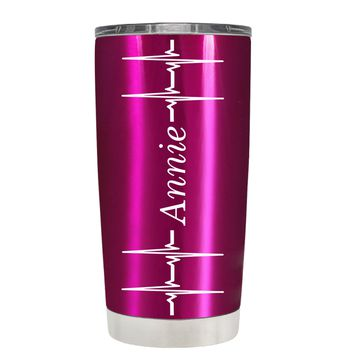 Personalized Heart Beat Pulse on Translucent Pink 20 oz Tumbler Cup
