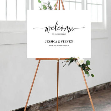 Calligraphy Welcome Sign, Wedding Welcome Sign, Custom Welcome Sign, Welcome Sign Poster, Modern Wedding Sign, Landscape Welcome Sign Poster