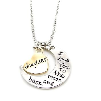 "Daughter ""I Love You To The Moon"" Charm Necklace"