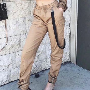 Net red with the street beat women's streamers Japanese word buckle street dance casual trousers overalls women
