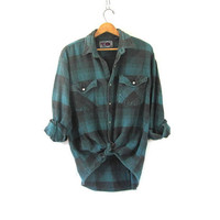 Vintage Plaid Flannel / Grunge Shirt / Thick cotton button up shirt in blue / size L