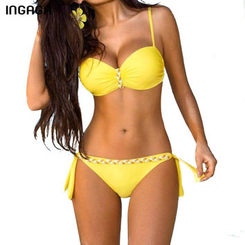 INGAGA New Sexy 2017 Bikinis Set Push Up Swimwear Women Brand Strap Bandage Swimsuit Bathing Suits Summer Beach
