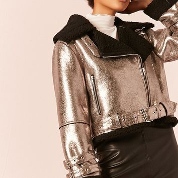 Metallic Faux Shearling-Lined Moto Jacket