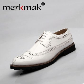 genuine leather oxford shoes for men dress business shoes flats cut outs brogues leather platform vintage men flat shoes
