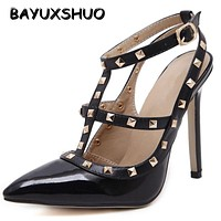 New 2107 Hot Women Pumps Ladies Sexy Pointed Toe High Heels Fashion Buckle Studded Stiletto High Heel Sandals Shoes Large Size