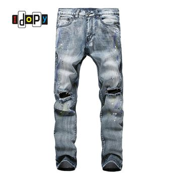 Men`s Painted Jeans Ripped Acid Washed Vintage Distressed Stretchy Cotton Denim Pants With Big Knee Hole