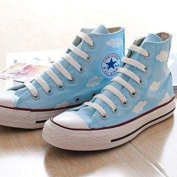 CREYON hand painted shoes converse lovely floral the blue sky and white clouds blove cute