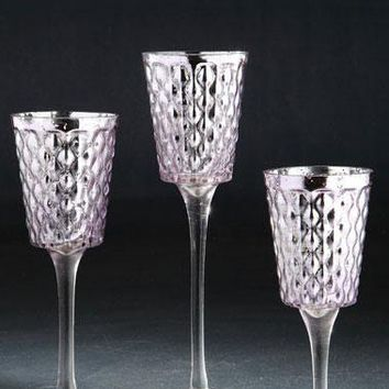 "Set of 3 Decorative Glass Candle Holders in Champagne - 8"", 10"" & 12"" Tall"