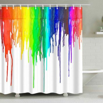 Colorful Ink Painting Waterproof Bathroom Curtain