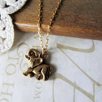 REMEMBER lucky elephant charm necklace gold by brideblu on Etsy