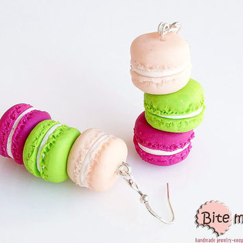 Polymer Clay Jewelry Macarons Tower Hook Earrings, Mini Food, Handmade Earrings, Polymer Clay Sweets, Miniature Food, Foodie, Kawaii Jewelry