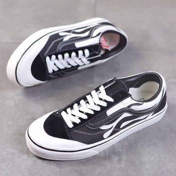 """""""Vans Style 36 Decon SF"""" Unisex Retro Personality  Multicolor Flame Skateboard Plate Shoes Couple Sneakers"""