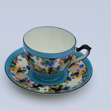 Antique ABJ Grafton China Carnival Pattern Tea Cup and Saucer in Turquoise RARE