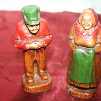 Vintage Hand Carved Man And Woman Figurines
