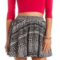 Smocked-Waist Tribal Print Skater Skirt - Black/White